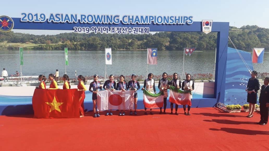 مسابقات روئینگ قهرمانی آسیا-کرهجنوبی؛ کسب مدال برنز برای روئینگ چهارنفره بانوان